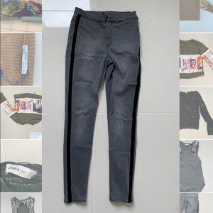 Zara size 8 gray jeans with black trim.
